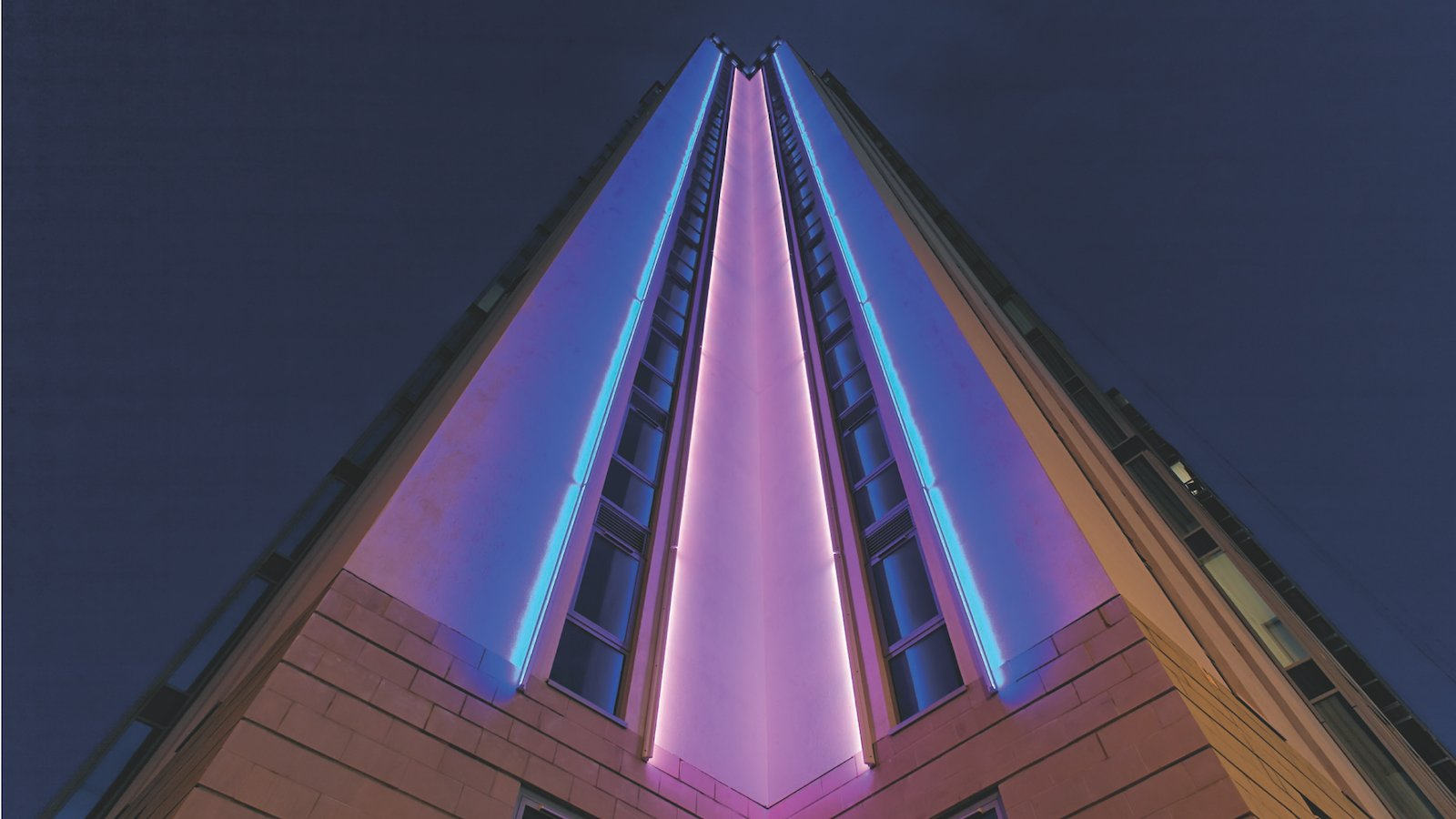 njo led lighting on facade of Orion Building